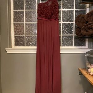 Maroon bridesmaids dress